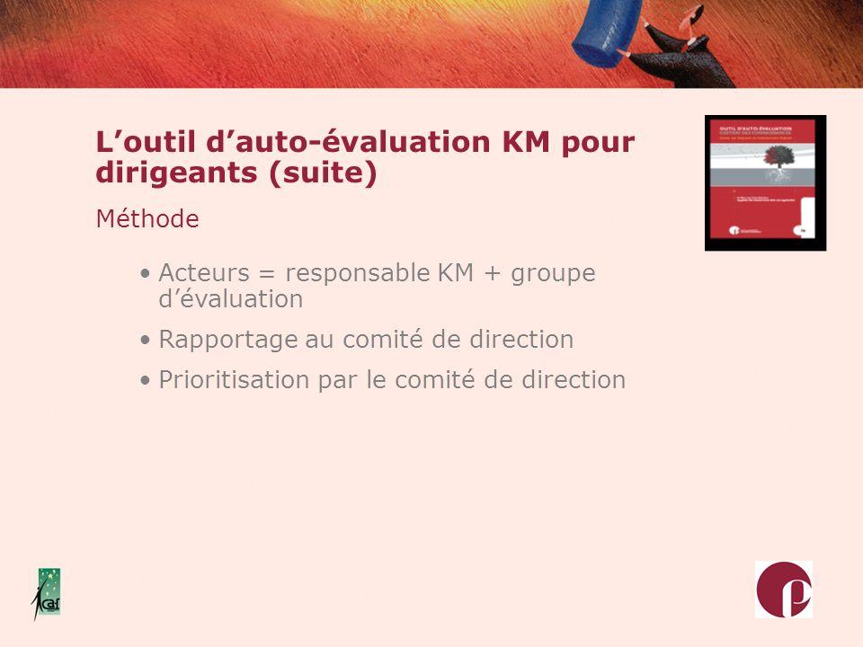L'outil d'auto-évaluation KM pour dirigeants (suite)