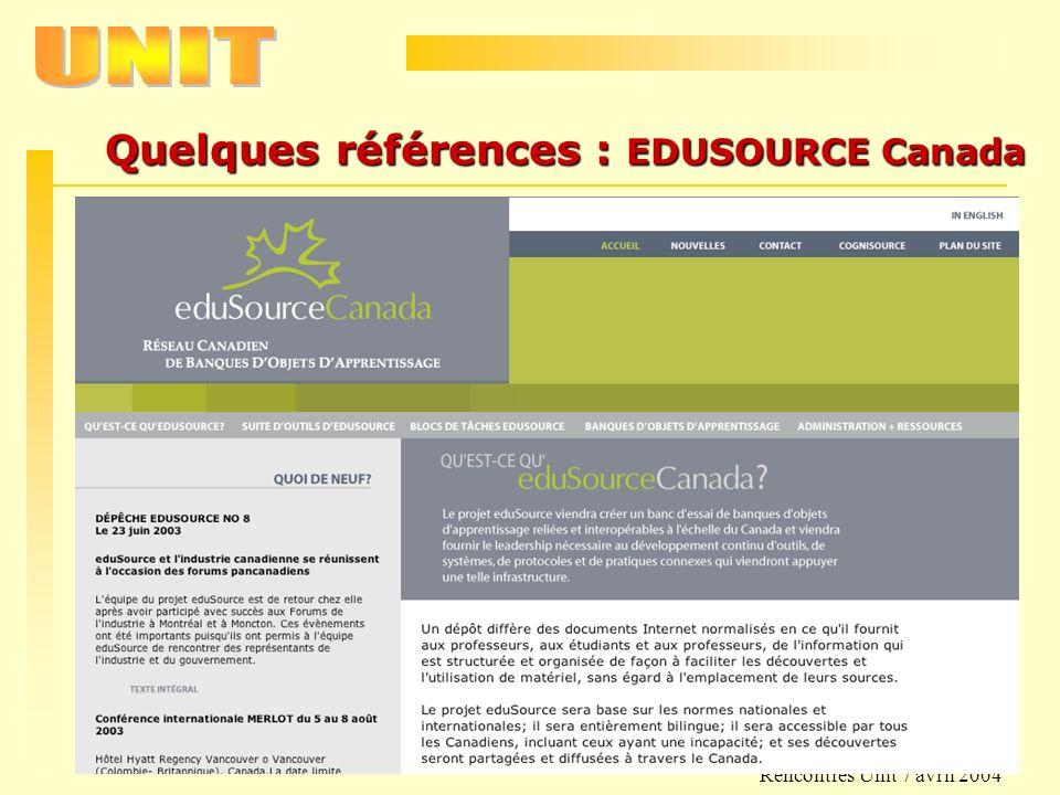 Quelques références : EDUSOURCE Canada