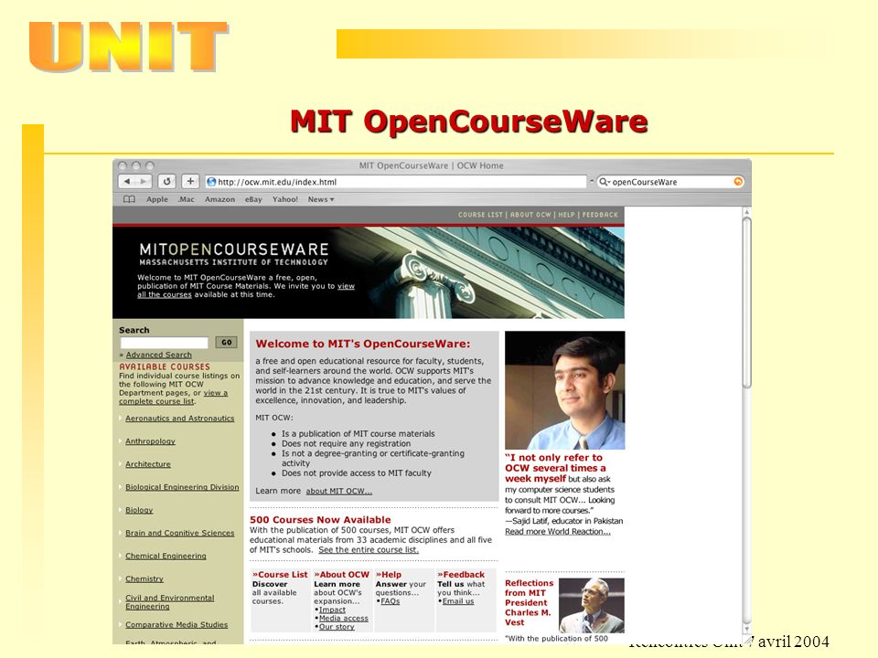 MIT OpenCourseWare Rencontres Unit 7 avril 2004