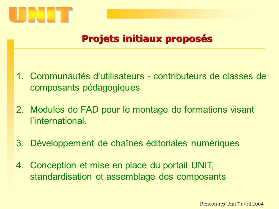 Projets initiaux proposés