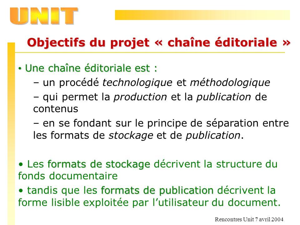 Objectifs du projet « chaîne éditoriale »