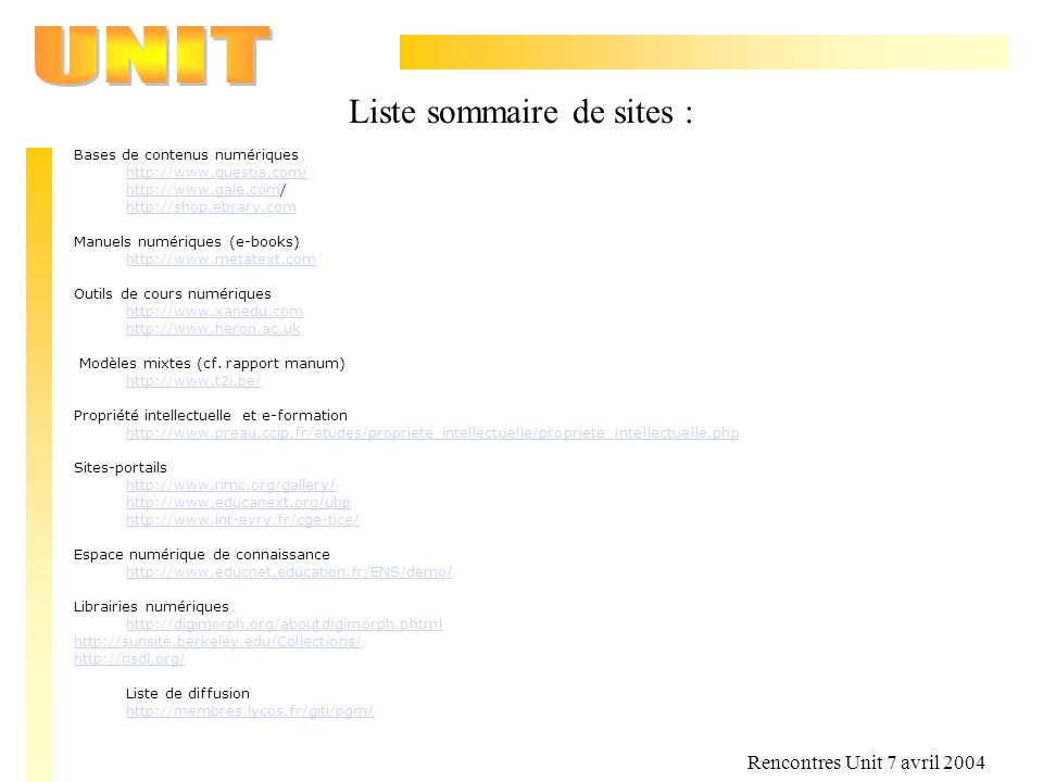 Liste sommaire de sites :