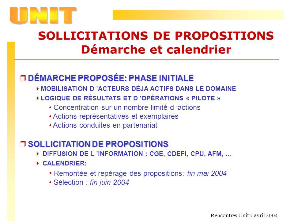 SOLLICITATIONS DE PROPOSITIONS Démarche et calendrier