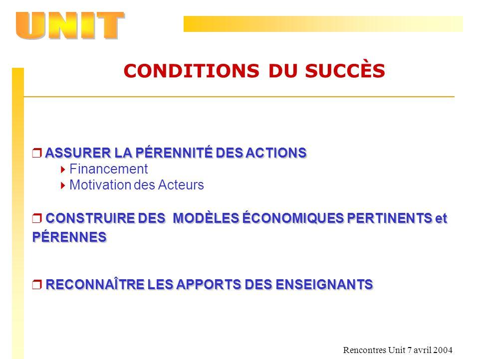 CONDITIONS DU SUCCÈS ASSURER LA PÉRENNITÉ DES ACTIONS Financement