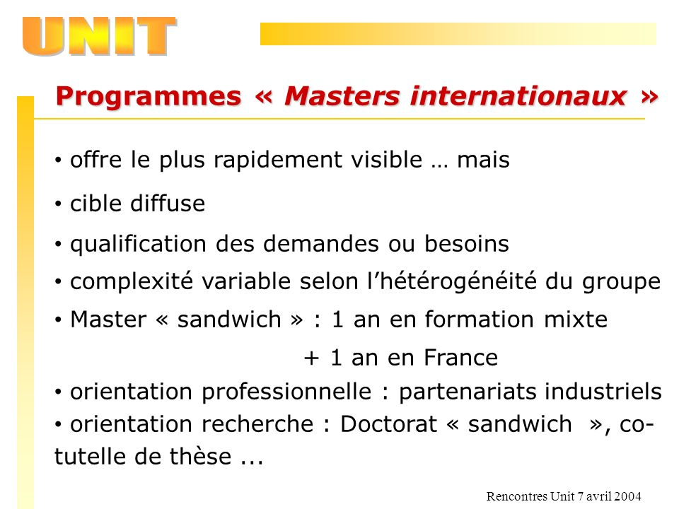 Programmes « Masters internationaux »