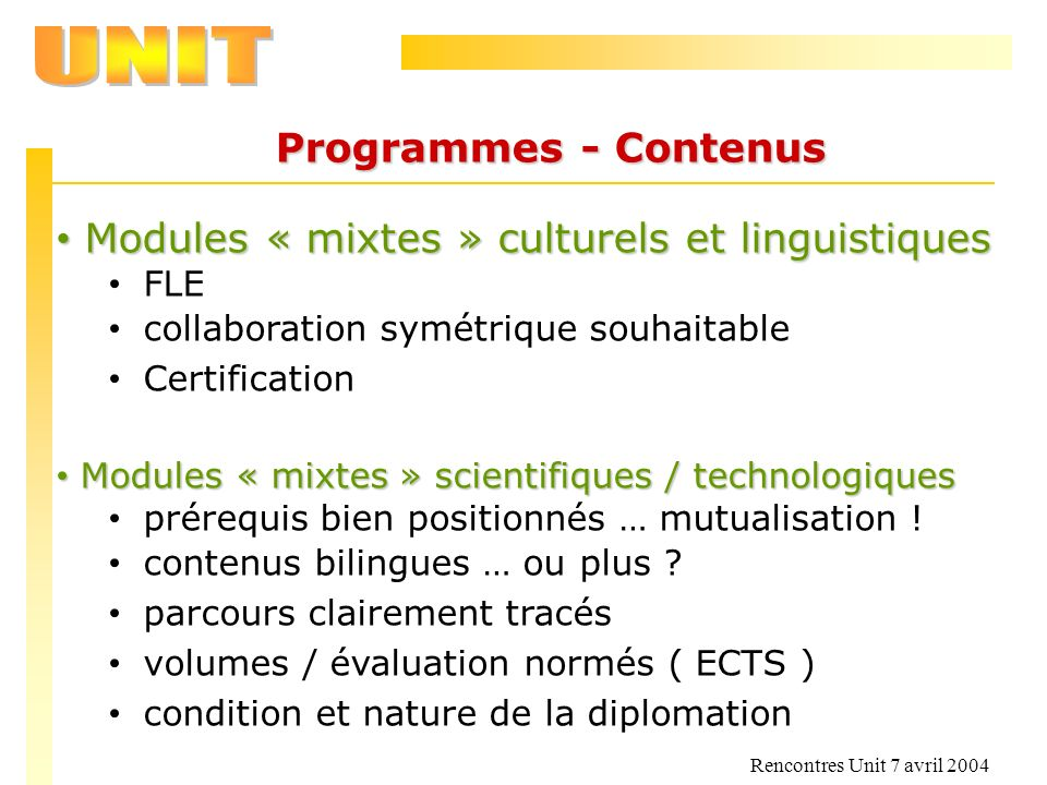 Modules « mixtes » culturels et linguistiques