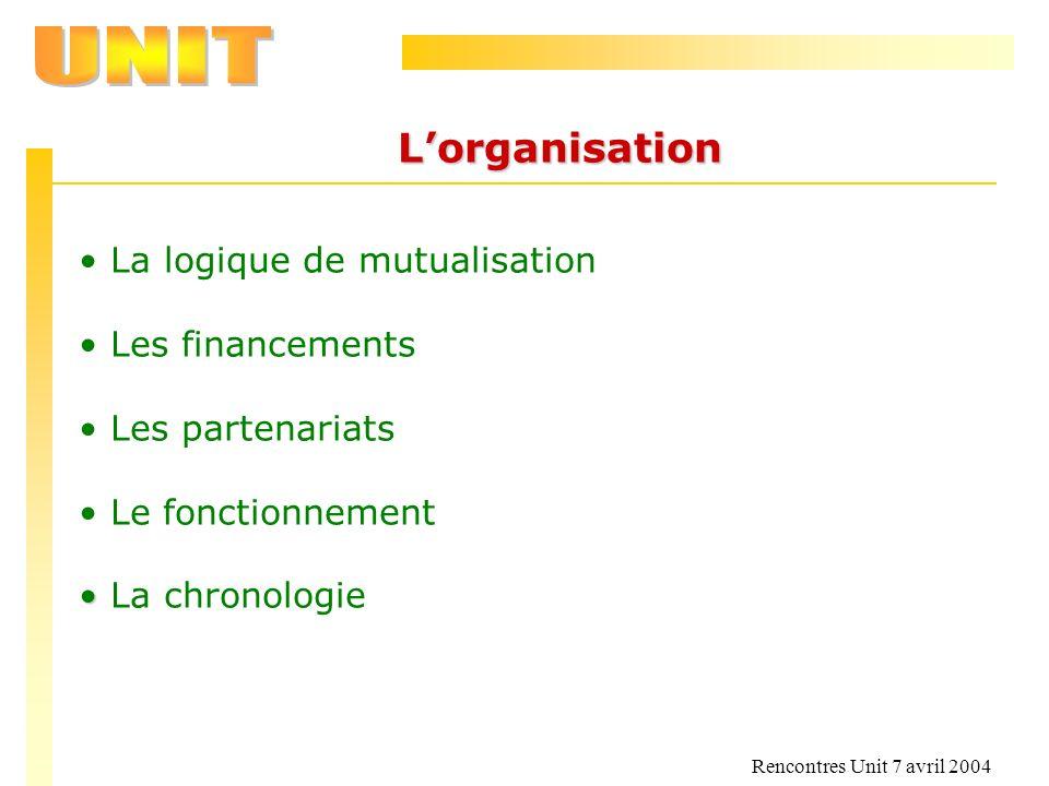 L'organisation La logique de mutualisation Les financements