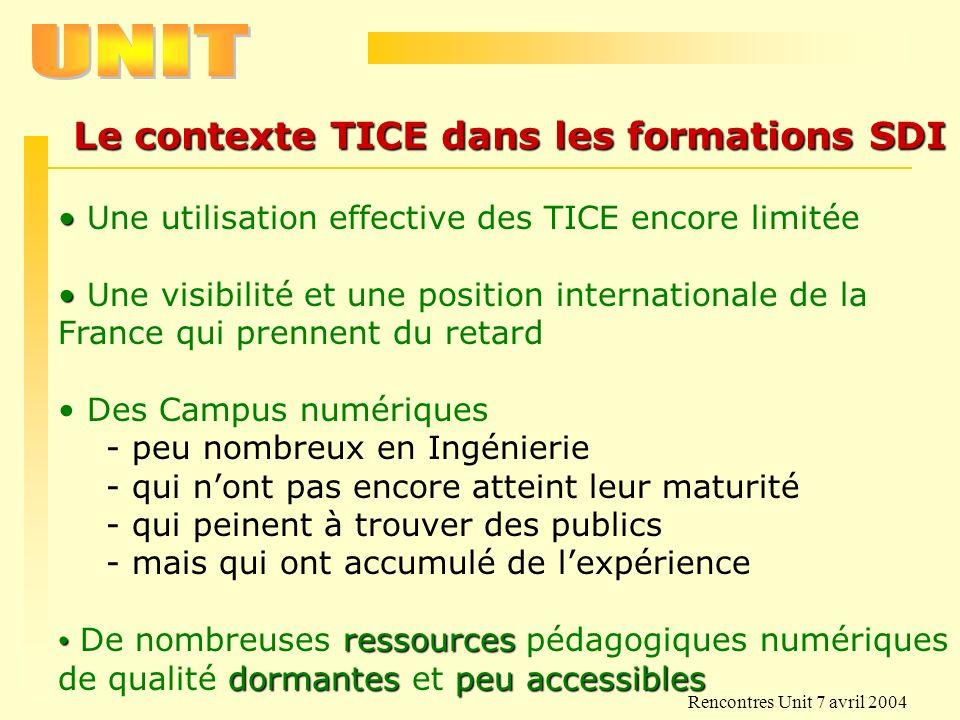Le contexte TICE dans les formations SDI