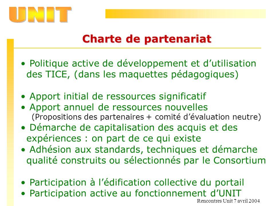 Charte de partenariat Politique active de développement et d'utilisation des TICE, (dans les maquettes pédagogiques)