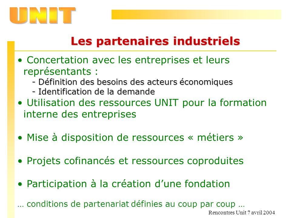 Les partenaires industriels
