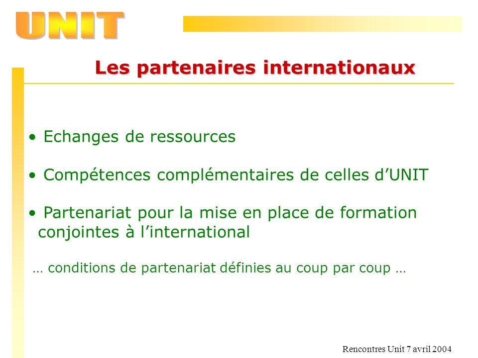 Les partenaires internationaux