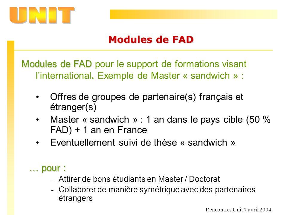 Offres de groupes de partenaire(s) français et étranger(s)