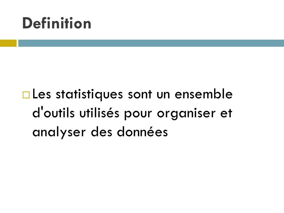 Definition Les statistiques sont un ensemble d outils utilisés pour organiser et analyser des données.