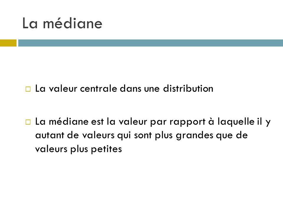 La médiane La valeur centrale dans une distribution