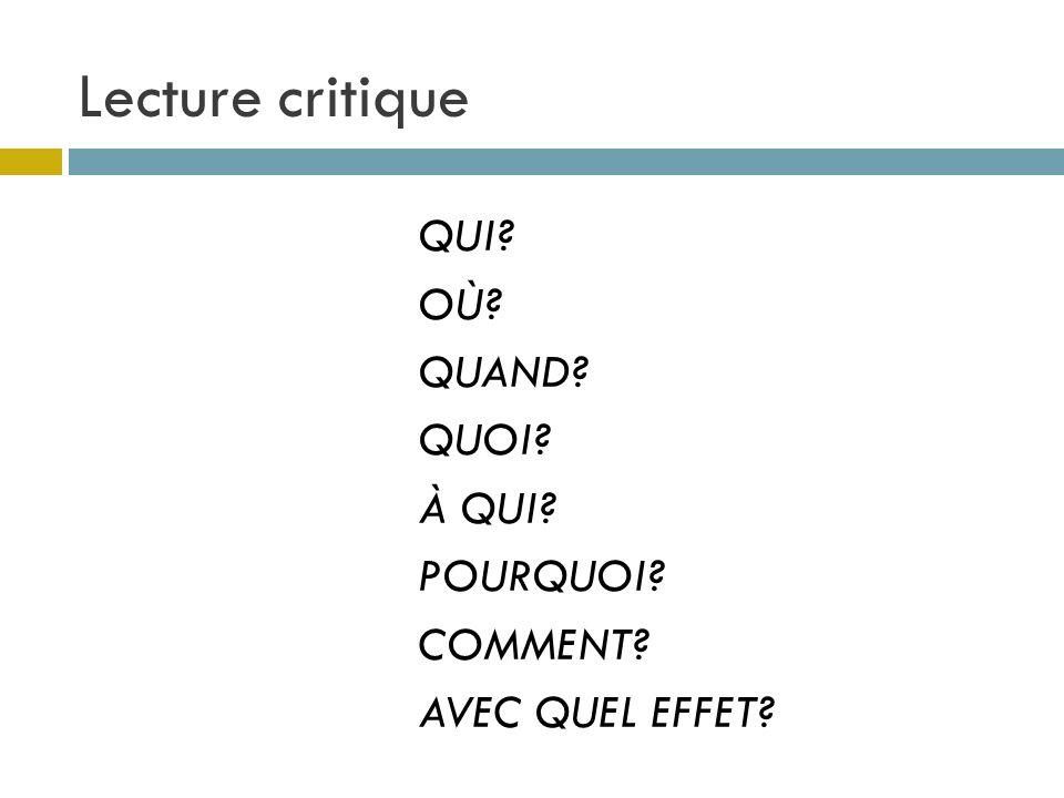 Lecture critique QUI OÙ QUAND QUOI À QUI POURQUOI COMMENT AVEC QUEL EFFET
