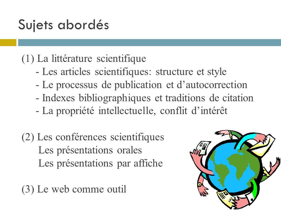 Sujets abordés (1) La littérature scientifique