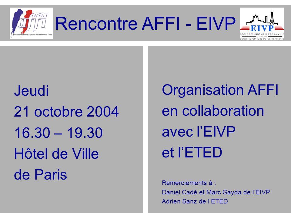 Rencontre AFFI - EIVP Jeudi Organisation AFFI 21 octobre 2004