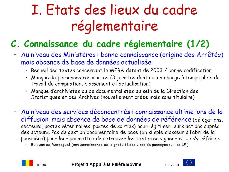 I. Etats des lieux du cadre réglementaire