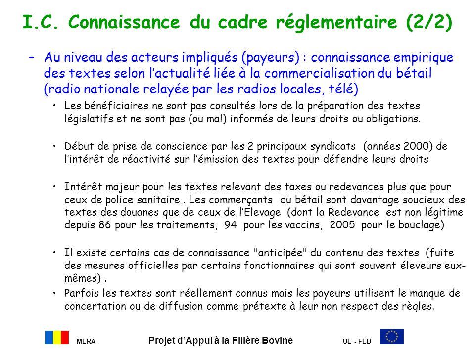 I.C. Connaissance du cadre réglementaire (2/2)
