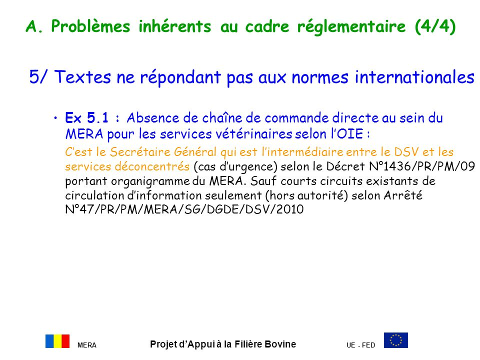 A. Problèmes inhérents au cadre réglementaire (4/4)
