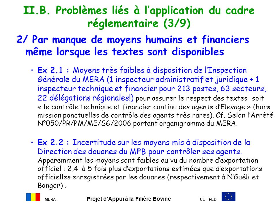 II.B. Problèmes liés à l'application du cadre réglementaire (3/9)