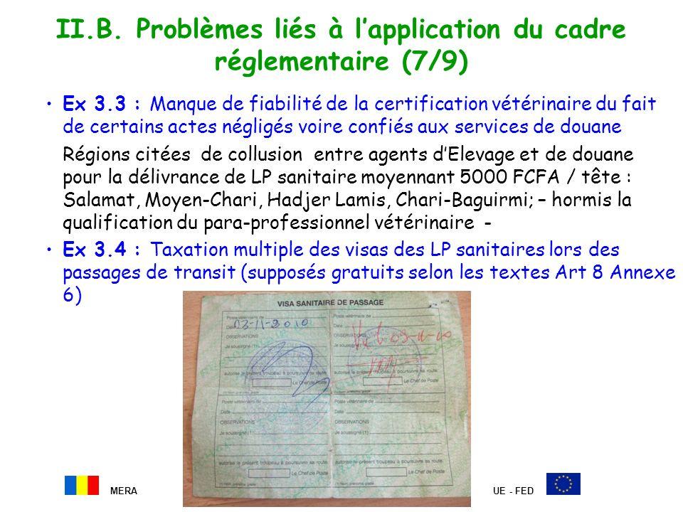 II.B. Problèmes liés à l'application du cadre réglementaire (7/9)
