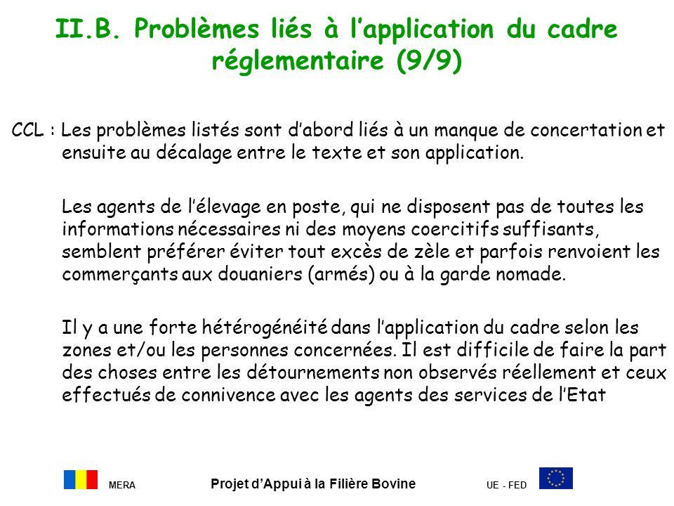 II.B. Problèmes liés à l'application du cadre réglementaire (9/9)