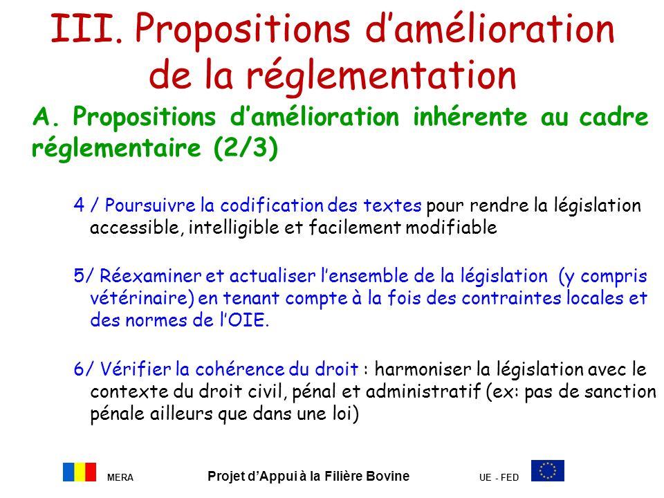 III. Propositions d'amélioration de la réglementation
