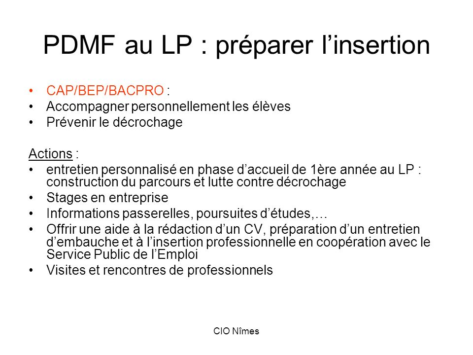 PDMF au LP : préparer l'insertion