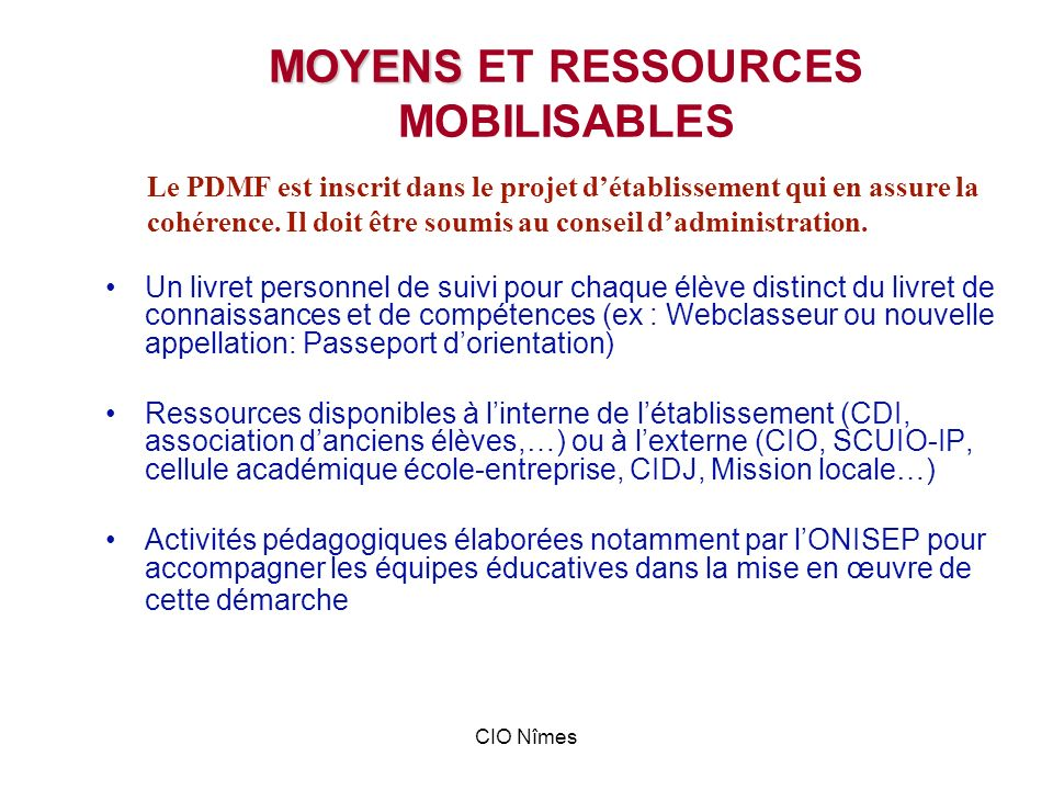 MOYENS ET RESSOURCES MOBILISABLES