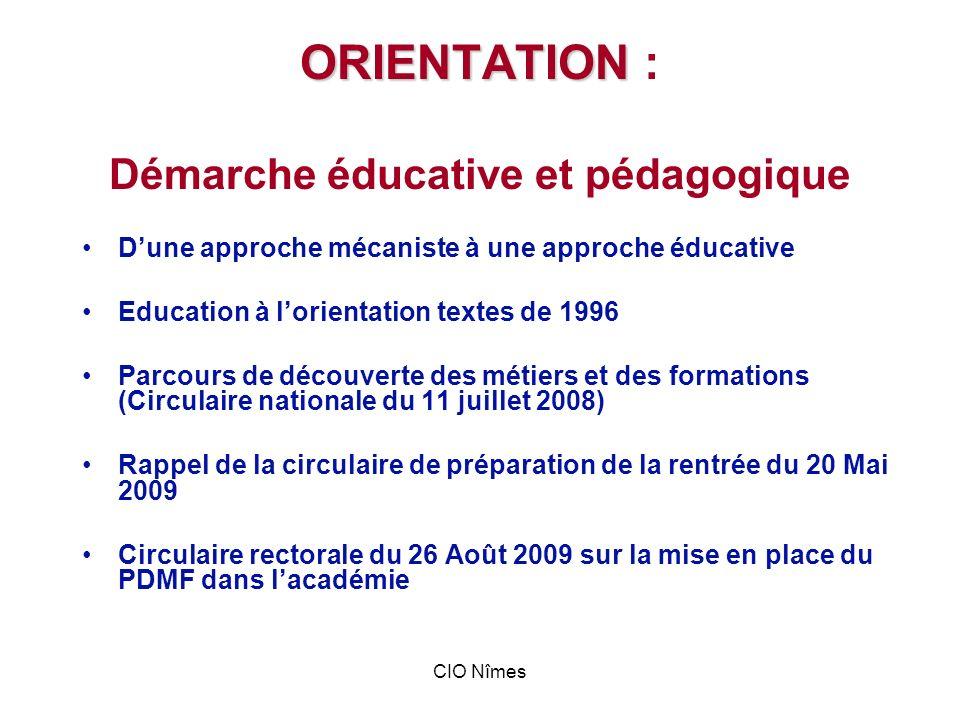 ORIENTATION : Démarche éducative et pédagogique