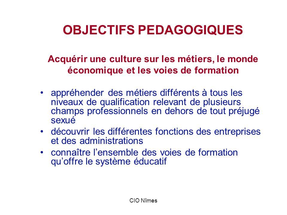 OBJECTIFS PEDAGOGIQUES Acquérir une culture sur les métiers, le monde économique et les voies de formation