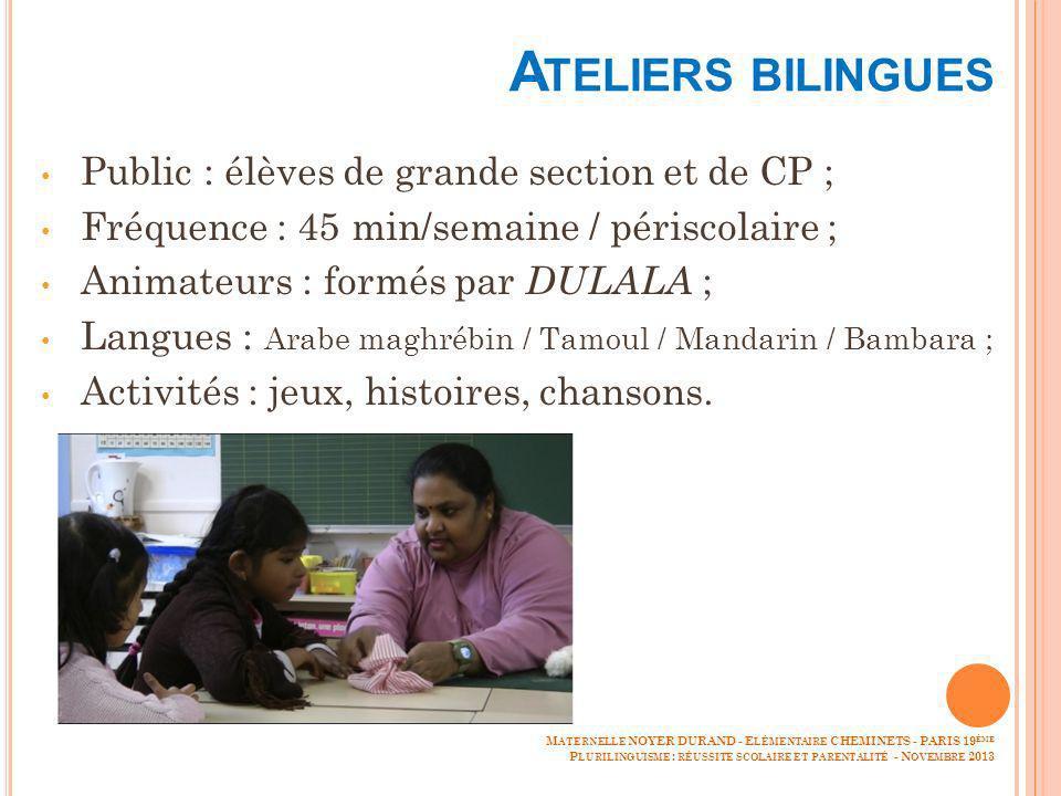 Ateliers bilingues Public : élèves de grande section et de CP ;