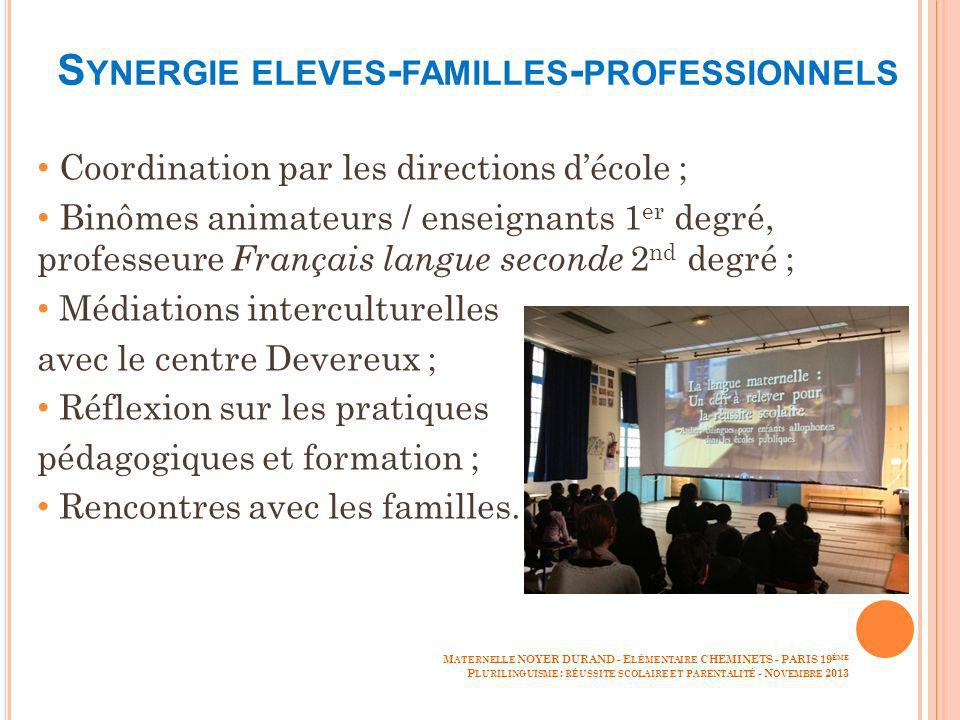 Synergie eleves-familles-professionnels