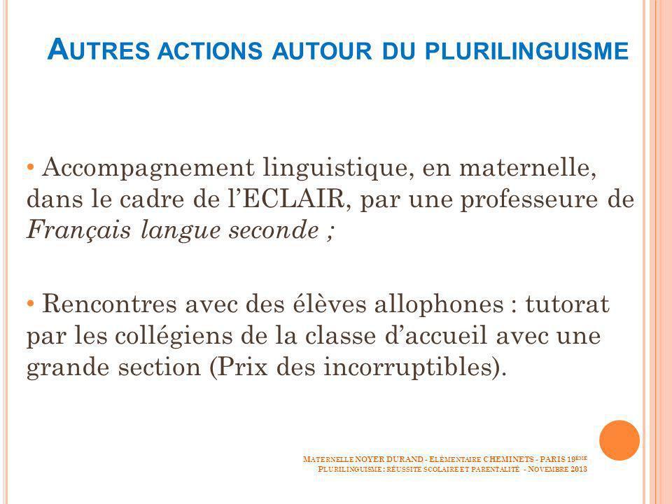 Autres actions autour du plurilinguisme
