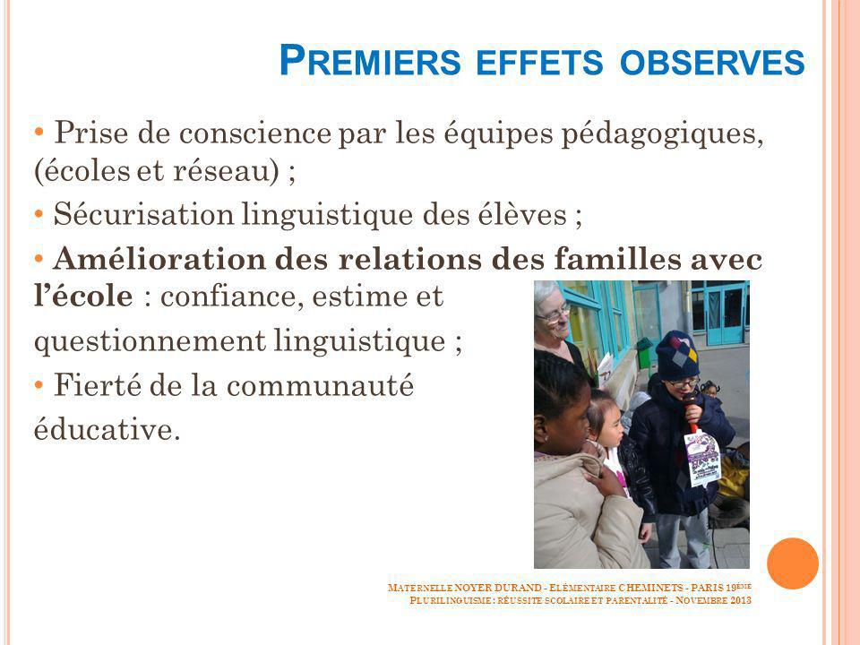 Premiers effets observes