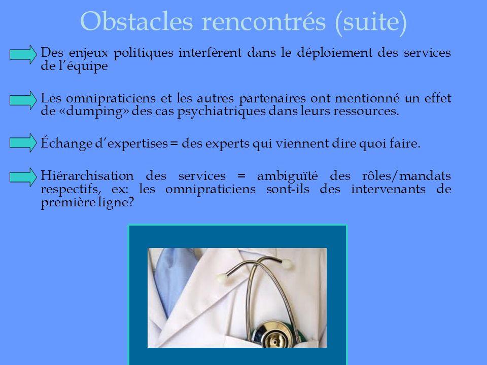 Obstacles rencontrés (suite)