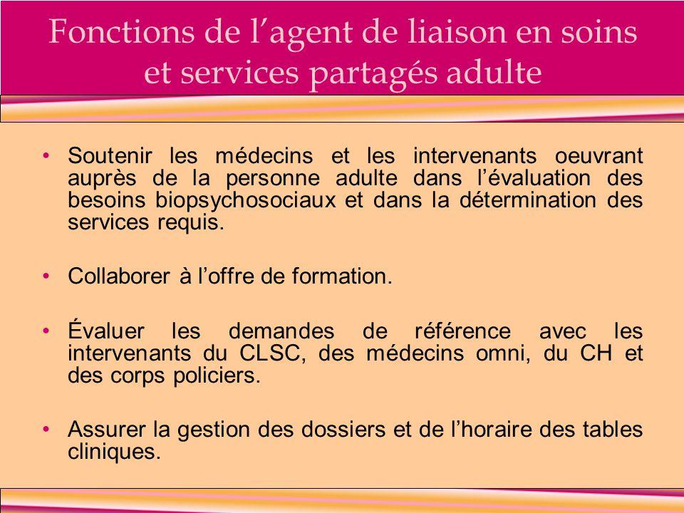 Fonctions de l'agent de liaison en soins et services partagés adulte