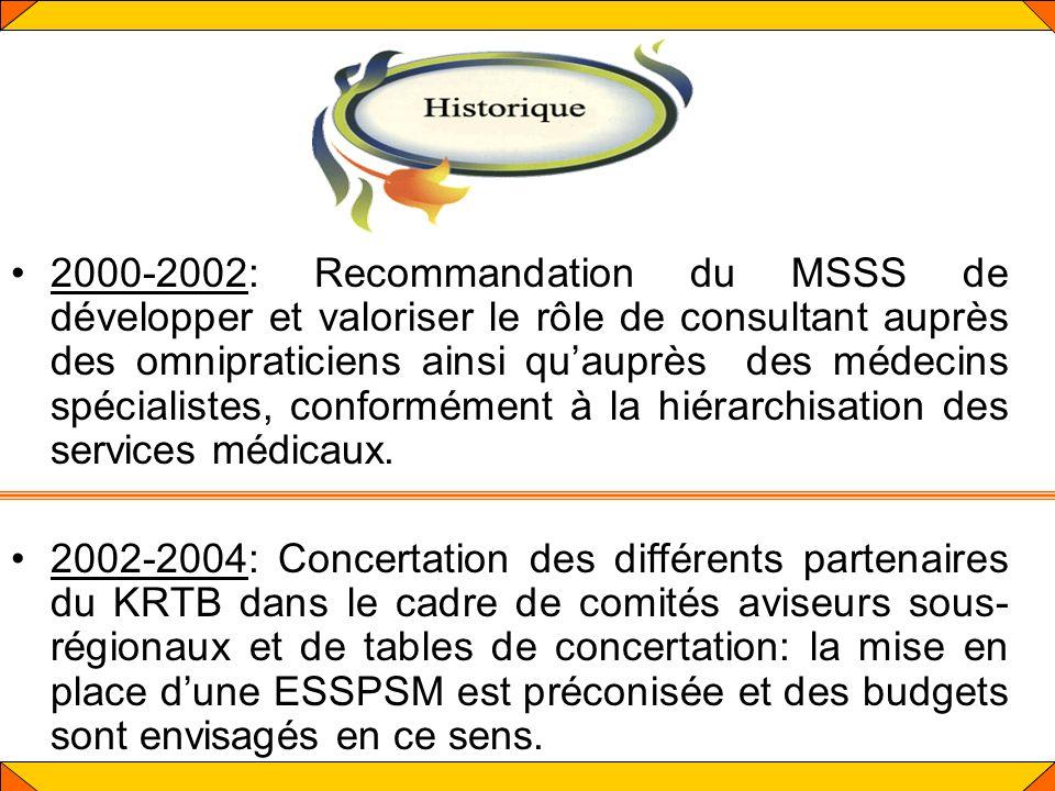 2000-2002: Recommandation du MSSS de développer et valoriser le rôle de consultant auprès des omnipraticiens ainsi qu'auprès des médecins spécialistes, conformément à la hiérarchisation des services médicaux.