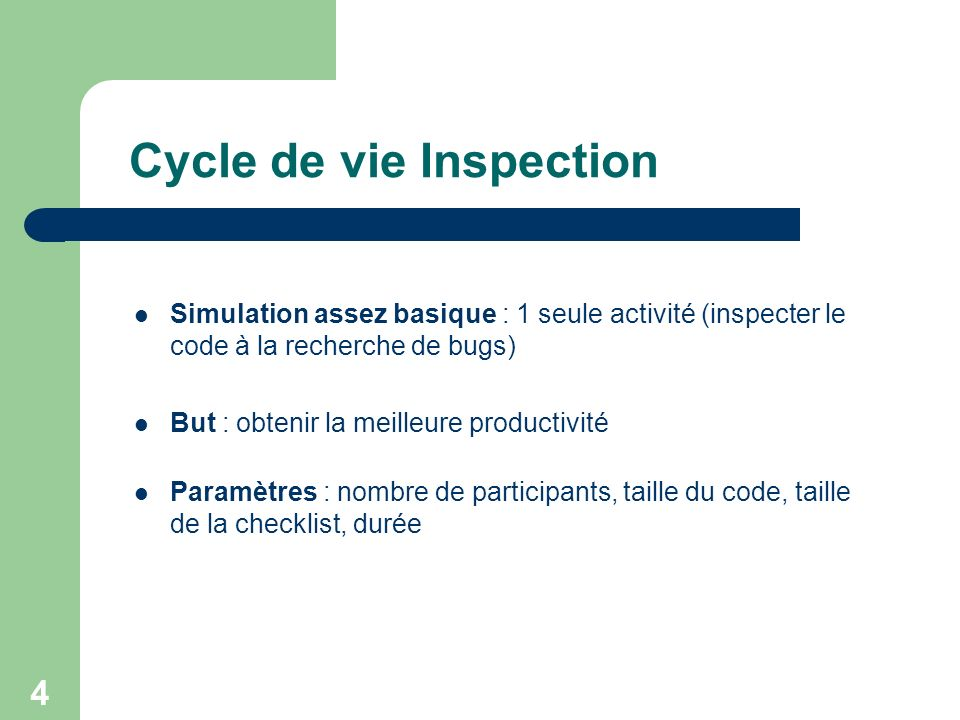 Cycle de vie Inspection