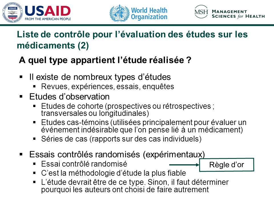 Liste de contrôle pour l'évaluation des études sur les médicaments (2)