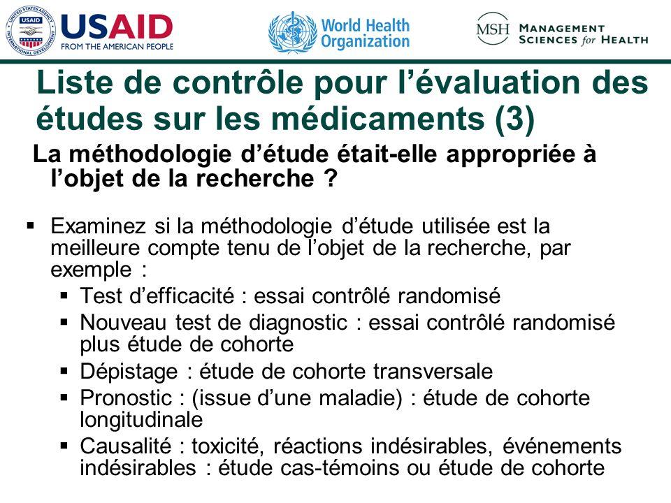 Liste de contrôle pour l'évaluation des études sur les médicaments (3)