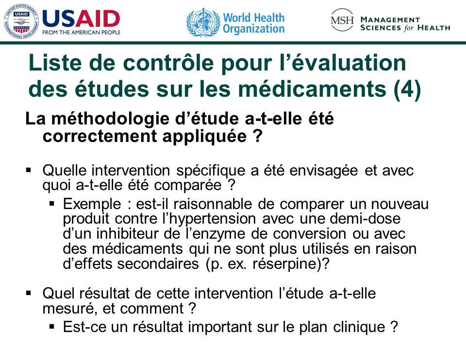Liste de contrôle pour l'évaluation des études sur les médicaments (4)