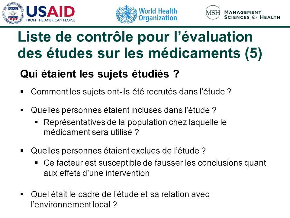 Liste de contrôle pour l'évaluation des études sur les médicaments (5)