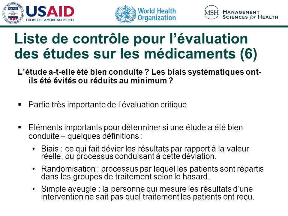Liste de contrôle pour l'évaluation des études sur les médicaments (6)