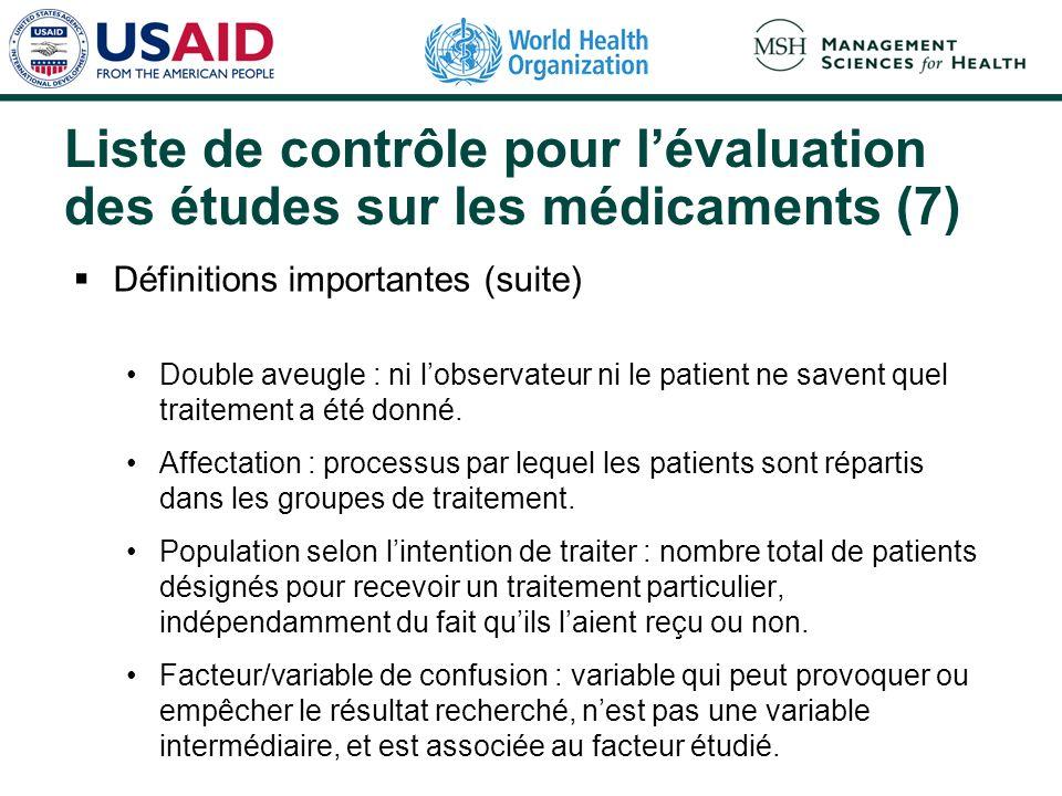 Liste de contrôle pour l'évaluation des études sur les médicaments (7)