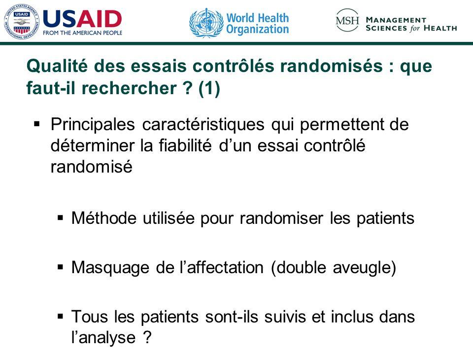 Qualité des essais contrôlés randomisés : que faut-il rechercher (1)