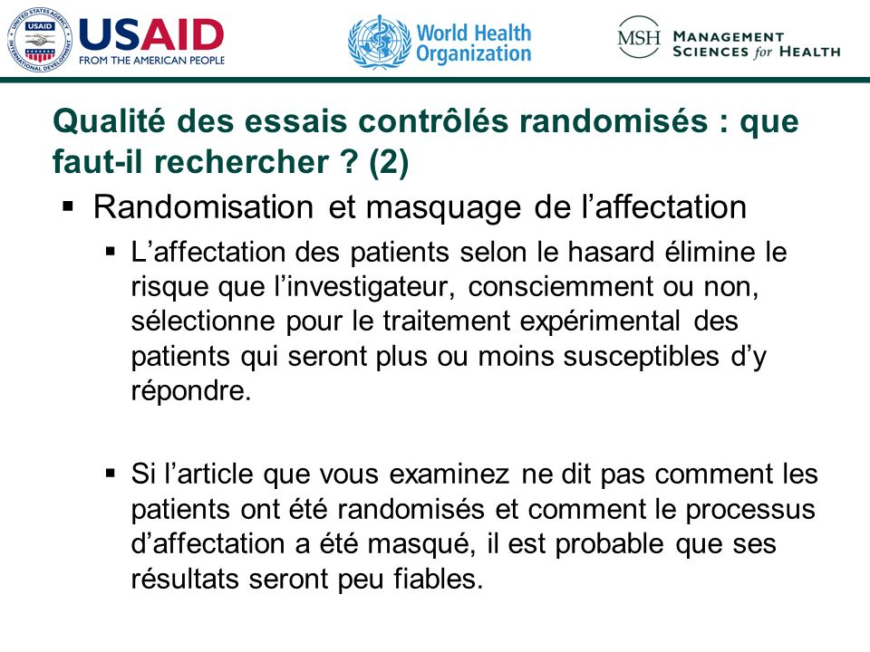 Qualité des essais contrôlés randomisés : que faut-il rechercher (2)