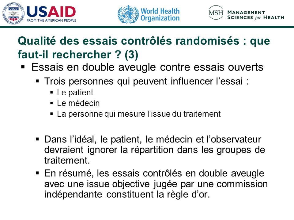 Qualité des essais contrôlés randomisés : que faut-il rechercher (3)