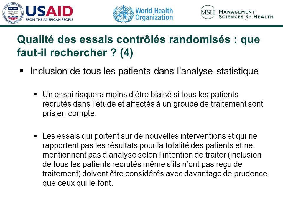 Qualité des essais contrôlés randomisés : que faut-il rechercher (4)